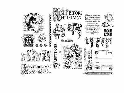"""Graphic 45 """"twas The Night Before Christmas"""" Cling Stamp Set 1, 2 &3 Scrapjack's"""