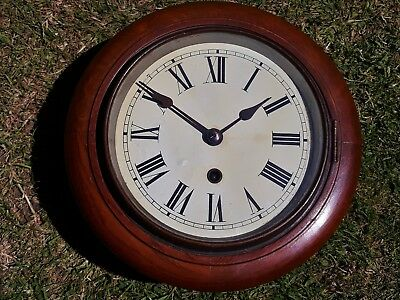 "ANTIQUE MAHOGANY 1930s DIAL WALL CLOCK 8"" DIAL 8-DAY MECHANISM"
