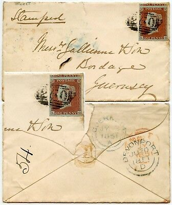 GUERNSEY INCOMING 1851 QV PENNY RED LG FINE 4 MARGINS from DEVONPORT