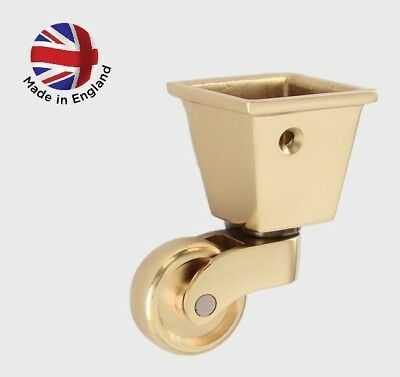 Brass Square Castor Cup  Polished Caster Replacement Good Quality Furniture