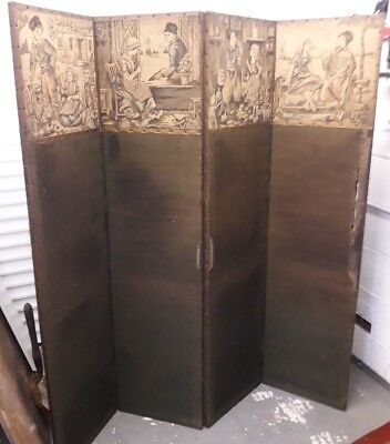 Vintage four part folding screen with Dutch Theme Woven pictures. c1920's