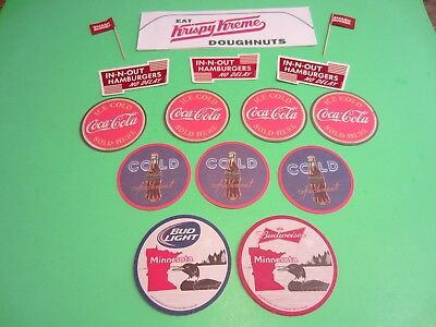 Coca Cola & Budweiser Coaster,s In-n-Out Stickers, Krispy Kreme Diner Cap UNUSED