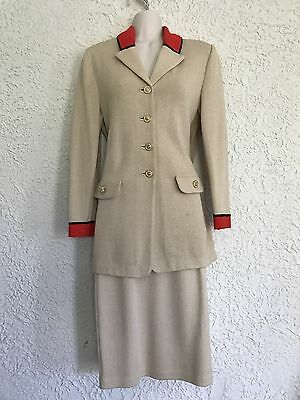 St. John Collection By Marie Gray Beige Skirt Suit Size 2-4 Santana Knit