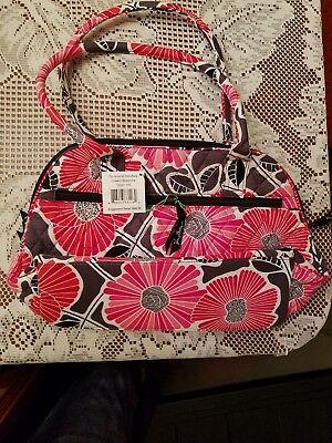 f331c644cf VERA BRADLEY CHEERY Blossoms Zip Around Handbag rolled Handles NWT ...