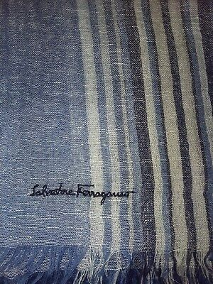 FERRAGAMO blue striped linen & cashmere men's scarf - New without Tags