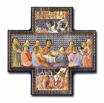 """Last Supper Cross Shaped Picture Hanging Icon Style 6"""" x 6"""" Jesus & Disciples"""
