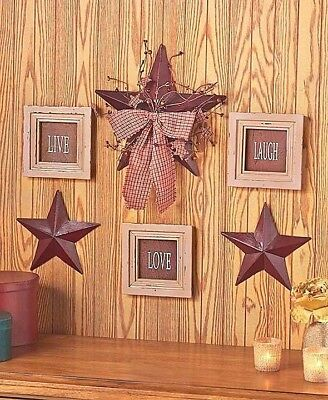 6 PC PRIMITIVE Country Rustic LIVE LOVE LAUGH Sentiment and Star ...