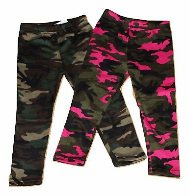 Girls Camouflage Leggings Kids Childrens Camo Trousers Full Length Age 1-14 Yr