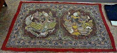 Antique Kalaga Burmese Siam Asian 3D Wall Hanging Tapestry Embroidery