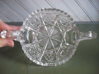 Antique American Brilliant Cut Glass 2 Handled Bowl Nappy Dish ABP