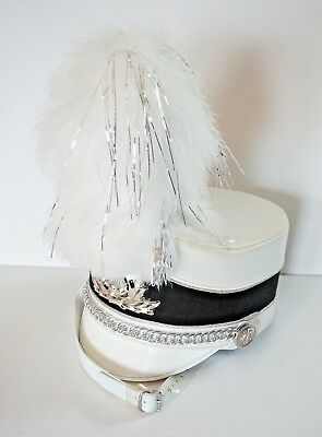 "USED Marching Band Hat 8"" plume - White and Silver"