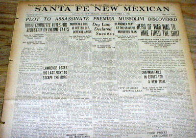 1925 newspaper PROHIBITION hailed as GREAT SUCCESS + MUSSOLINI ASSASSINATION TRY