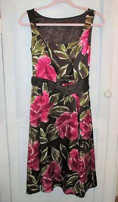 Beautiful LAURA ASHLEY Vintage 1950s style Rose floral silk dress 8 wedding
