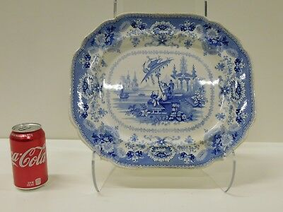ANTIQUE Large Blue & White ORIENTAL Pattern Staffordshire Transferware Platter