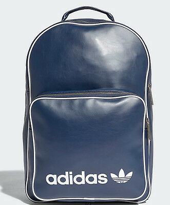 3223241c497d Adidas originals Classic trefoil vintage Backpack Bag school men womens PU  blue