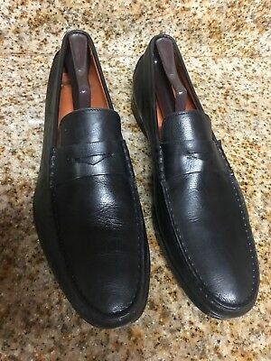07a9ec97ed5 Santoni Men s Black Leather Loafer Dress Shoes Size 11 D Made In Italy