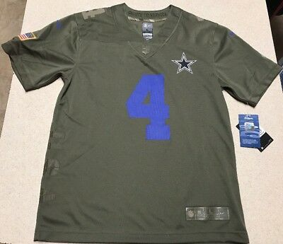 brand new f0983 2e90d YOUTH DAK PRESCOTT Dallas Cowboys Nike Salute to Service Game Jersey Size  Large