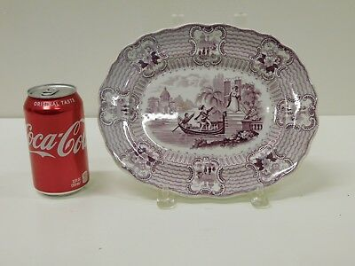 ANTIQUE 1830s Purple Staffordshire Transferware Bologna Adams & Sons Platter