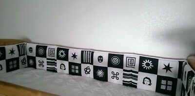 Cot Bed Crib Bumper Double Sided 60x60x60 Tummy Time Blac White Contrast Newborn