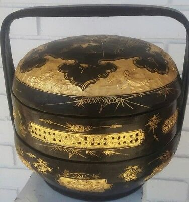 Antique Bakul Siah Gilt & Black Lacquer Chinese Wedding basket