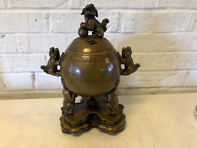 Vintage Possibly Antique Chinese Bronze Foo Dog Incense Burner / Censer