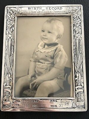 Antique Sterling Silver Child Baby Birth Record Picture Photo Frame Webster