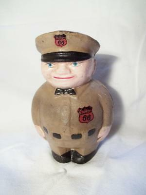 Cast Iron Phillips 66 Oil Gas Filling Station Attendant Advertising Coin Bank