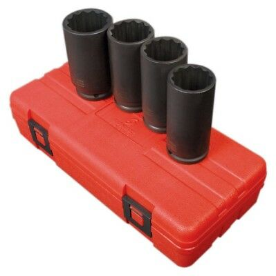 Sunex 4pc 1/2 Drive Metric Deep 12 Point Axle Nut Impact Socket Set Spindle 2837