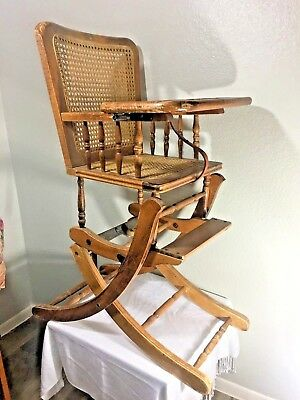 Antique Edwardian Era Children's Wood High Chair Converter Rocker