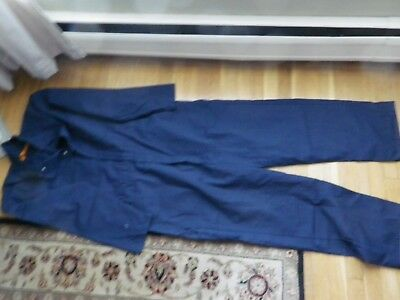 Mens size 44 RG Navy Blue Poly/Cotton Zip Front Mechanics Work Coveralls