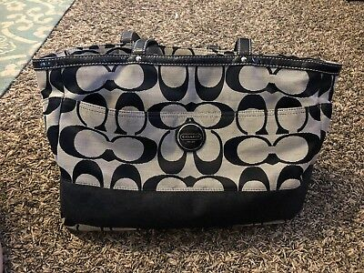 87c037b10dda28 Coach Peyton Signature Multifunction Diaper Baby Tote Bag Black F13803