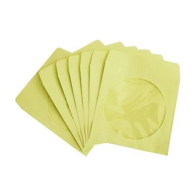300 80g CD DVD R Disc Paper Sleeve Envelope Clear Window Flap - Yellow