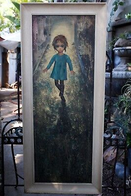 "Vintage Margaret KEANE Big Eyes ""The Runaway"" Huge Original Framed Lithograph Pr"