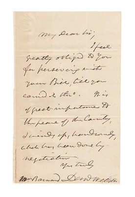 Daniel Webster U.S. Secretary of State Autograph Letter (1842) - Attractive!
