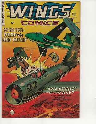 Wings Comics #117 Vf- Golden Age 1952 Fiction House Air Combat Airplane Jet