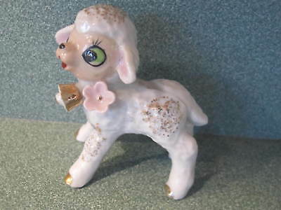 Vintage Ceramic Baby Lamb Bell Pink Flowers Figurinef Japan