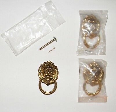 Lion Motif Solid Brass Cabinet Drawer Pull Knob Furniture Hardware Replacement