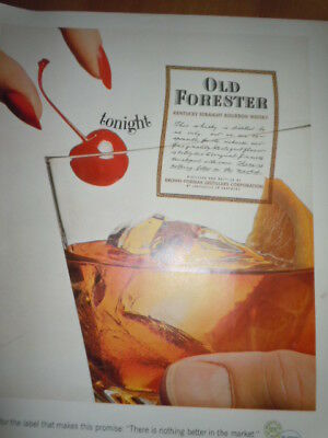 Old Forester Kentucky Straight Bourbon Whiskey Print Magazine Ad 1964