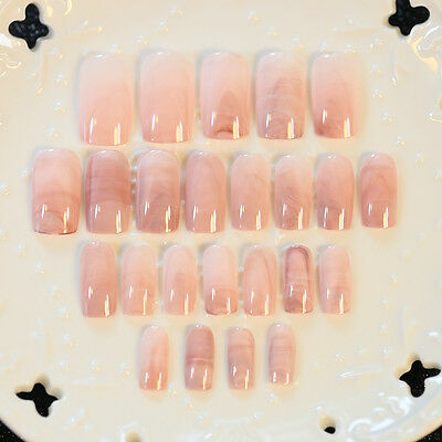 24 Pcs Smooth Marble Artificial False Nails Tips Long Square Full Fake Nail Art