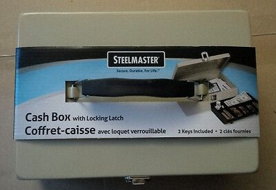 Steelmaster Cash Box with Locking Latch, Sand color (2 keys) Removable cash tray