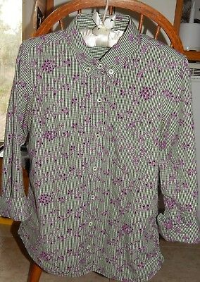00e389b2 Anthropologie Odille Gingham Embroidered Eyelet Blouse Green/White/Lilac ~  Sz 8