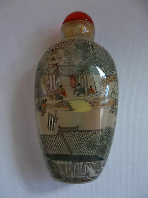 Fine Chinese Asian Glass Reverse Hand Painted RIVER SCENE Perfume Snuff Bottle