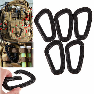 5pcs Outdoor Carabiner D-Ring Key Chain Clip Hook Camping Plastic Buckle LTZX