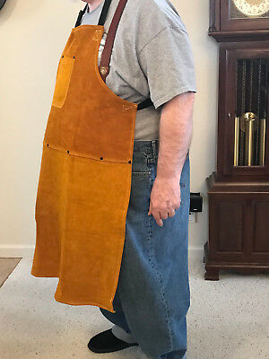 """Big & Tall"" Leather Shop Apron / Safety Apparel For Welding, Woodworking,etc"