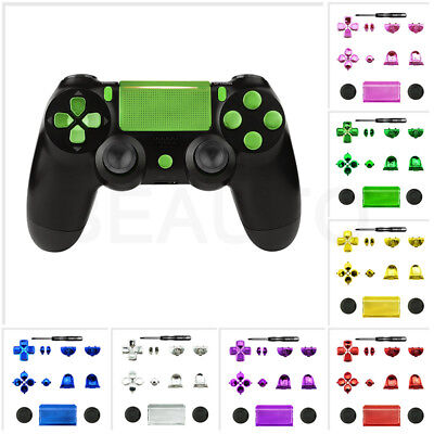 Chrome Solid Button Thumbstick Repair Parts Kit for Playstation 4 PS4 Controller