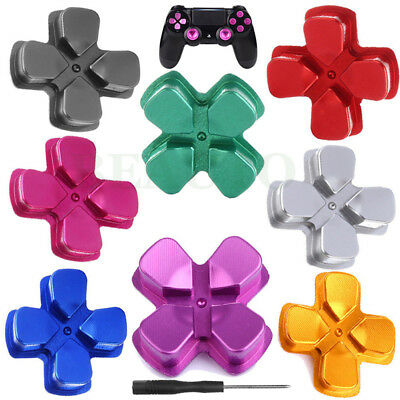 For PS4 Playstation 4 Controller Metal Dpad Thumbstick Buttons Cap Cover Kit Set