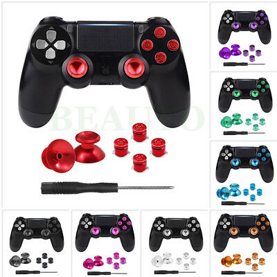 4x Metal Bullet Buttons +2x Thumbstick Set For PlayStation4 PS4 Slim Controller