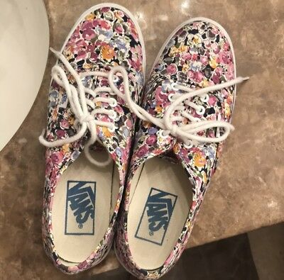 560660bbdf846b Vans Floral Colorful Flower Pattern Size Women s 6.5 Men s  Boys 5 Barely  Used