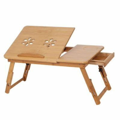 Mobile Laptop Desk Adjustable Notebook iPad PC Stand Table Tray Bamboo Q6H7
