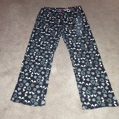 KENSIE WOMENS L Pajama Pants Black with birds and heart print ... a87b69a14